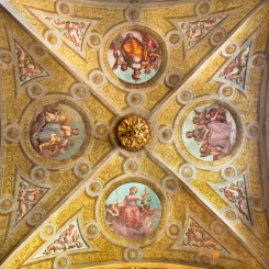 CREMONA  ITALY   MAY 25  2016 The ceiling fresco of symbolic four virtues in The Cathedral by unknown artist of 17. cent.